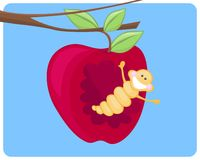 Worm&apple Royalty Free Stock Images