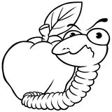 Worm and Apple Stock Image