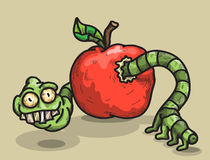 Worm and apple. Sarcastic worm looks out of an apple Royalty Free Stock Image