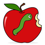Worm in apple cute funny cartoon vector illustration isolated on white background Stock Photo