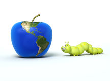 Worm and apple with Earth map Stock Photo