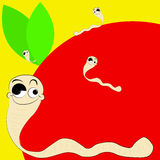 Worm and apple Royalty Free Stock Image