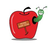 Worm apple house Stock Images