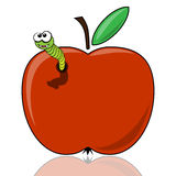 The worm in the apple Stock Image