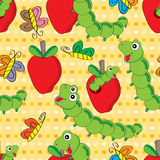 Worm Apple Seamless Pattern Royalty Free Stock Image