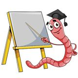 Worm with blackboard Royalty Free Stock Image