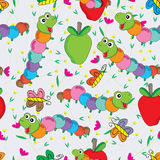 Worm Butterfly Flower Colorful Seamless Pattern Royalty Free Stock Image