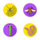 Worm, centipede, wasp, bee, hornet .Insects set collection icons in flat style vector symbol stock illustration web. Royalty Free Stock Image
