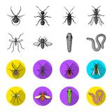 Worm, centipede, wasp, bee, hornet .Insects set collection icons in monochrome,flat style vector symbol stock. Illustration Stock Photo