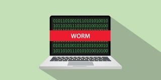 Worm cortando el ejemplo del concepto de la técnica con el comuputer del ordenador portátil y la bandera del texto en la pantalla Imagenes de archivo