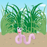 Worm crawled out of the ground vector illustration