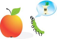 Worm die slechts over het voedsel denkt Royalty-vrije Illustratie