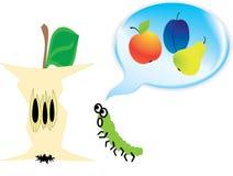 Worm die slechts over het voedsel denkt Vector Illustratie