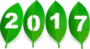 Worm-eaten πράσινο φύλλο αριθμού 2017, διάνυσμα καλής χρονιάς Στοκ εικόνες με δικαίωμα ελεύθερης χρήσης