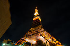 Worm eye view of Tokyo Tower at night Stock Image