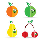 Worm in fruit color vector illustration Royalty Free Stock Images