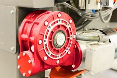 Worm gear motor. Mounted on CNC machine. Royalty Free Stock Photography