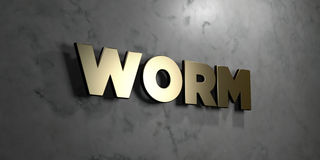 Worm - Gold sign mounted on glossy marble wall  - 3D rendered royalty free stock illustration Stock Photography