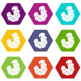 Worm icon set color hexahedron Royalty Free Stock Photo