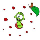 Worm insect animal cartoon apple background Stock Photo