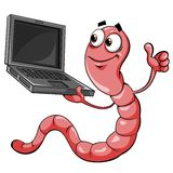Worm with laptop Royalty Free Stock Photos