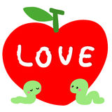 Worm in love with red apple  Stock Photography