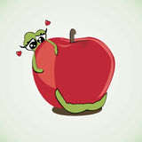 Worm loves his home apple vector illustration Stock Images