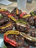 Worm muffins royalty free stock photography