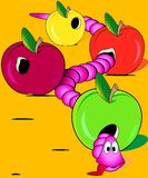 Worm overate the apples. Vector Illustration of the exhausted pink worm overate three apples Royalty Free Stock Photos