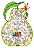 Worm in a pear - maze for kids. Royalty Free Stock Photography