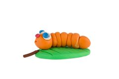 Worm from plasticine Stock Photo