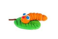 Worm from plasticine Royalty Free Stock Images