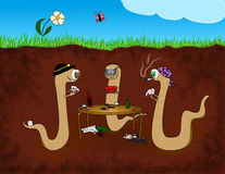 Worm poker cartoon Stock Photo