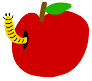 Worm in red apple Stock Image
