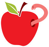 Worm in red apple Royalty Free Stock Photo