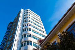 Worm`s-eye view of apartment building in Sochi, Russia Royalty Free Stock Images