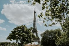 Worm's-eye View of Eiffel Tower Under Cloudy Sky stock images