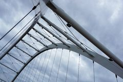 Worm's Eye View of Grey Steel Bridge Stock Image