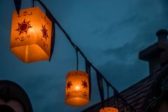 Worm's Eye View Photo of Candle Lantern royalty free stock photo