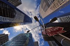 Worm's Eye View Of Skyscrapers stock photos