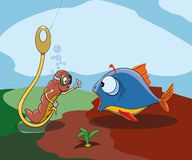 Worm sits on a hook and lures a fish. Vector illustration Royalty Free Stock Photo