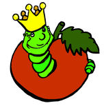 A worm to colors. A worm is a king and the apple is its reign, the worm has its crown Stock Image