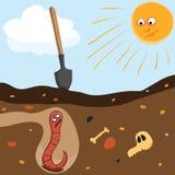 Worm underground Royalty Free Stock Image