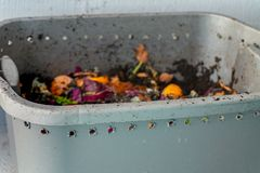 Worm vermiculture compost bin with breathing holes for aprtment composting royalty free stock photos