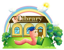 A worm wearing a graduation cap reading in front of the library Royalty Free Stock Image