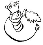 A worm in white and black. A worm is a king and the apple is its reign, the worm is the king of the apple Stock Image