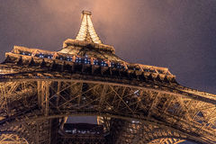 Worm's Eye View on Eiffel Tower during Night Time Royalty Free Stock Photos