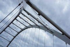Worm's Eye View of Grey Steel Bridge Stock Image