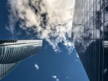 Worm's Eye View of High Rise Building Under White Cloudy Sky Royalty Free Stock Photo