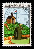 Wormeldange, Tourism serie, circa 2001. MOSCOW, RUSSIA - AUGUST 18, 2018: A stamp printed in Luxembourg shows Wormeldange, Tourism serie, circa 2001 stock photo
